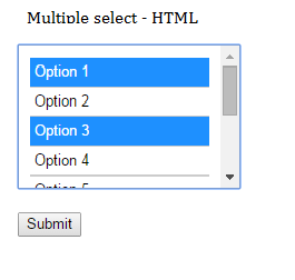 How to select multiple values from HTML select box and